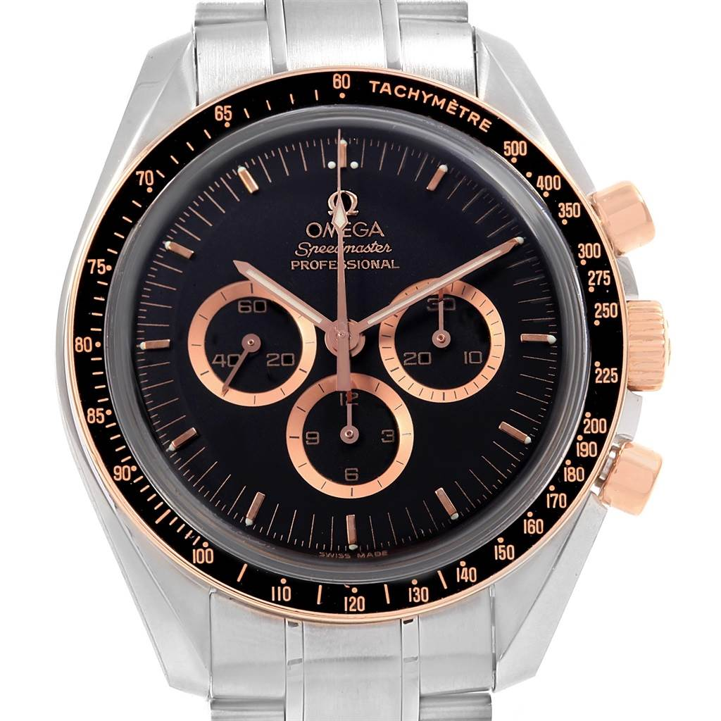 18137 Omega Speedmaster Apollo15 Steel Rose Gold Limited Watch 3566.51.00 SwissWatchExpo