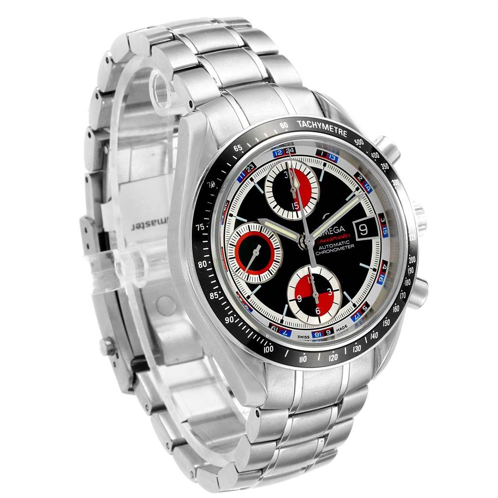 18081 Omega Speedmaster Black White Red Casino Dial Mens Watch 3210.52.00 SwissWatchExpo