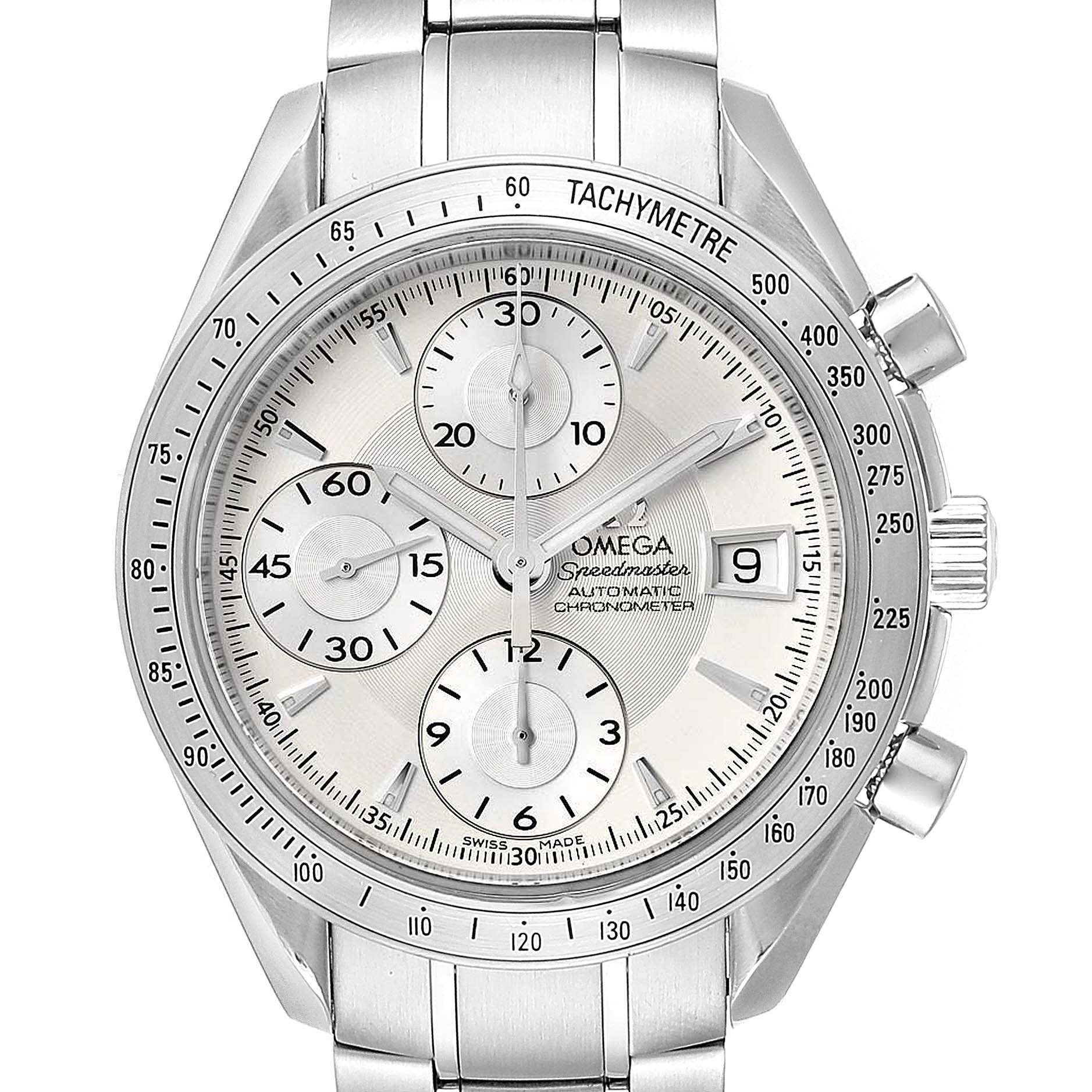 Omega Speedmaster Silver Dial Chronograph Mens Watch 3211.30.00 Card SwissWatchExpo