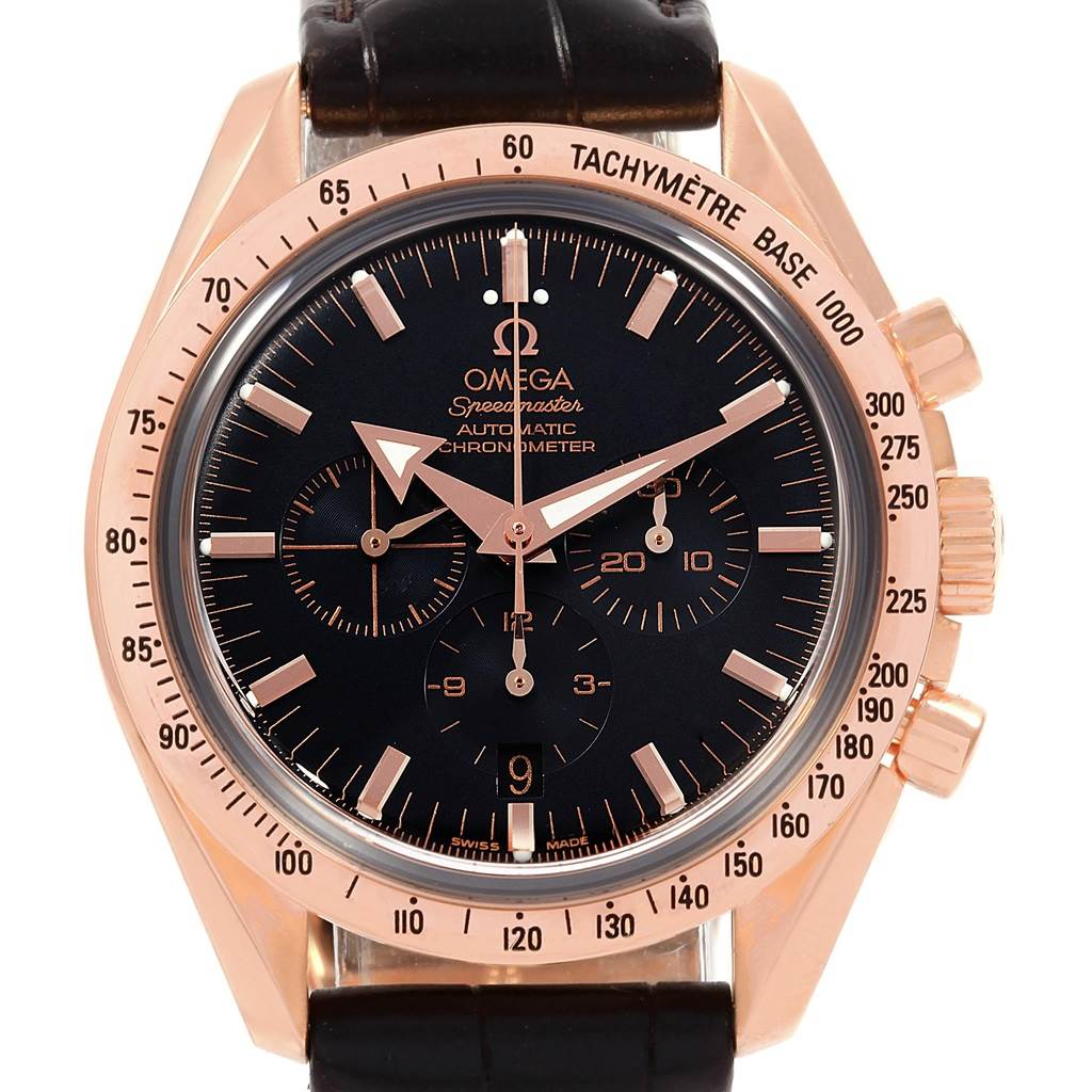 Omega Speedmaster Broad Arrow Rose Gold Mens Watch 3653 80 33