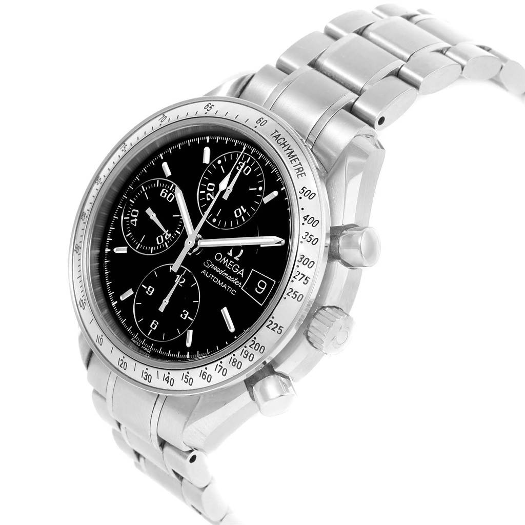 19027 Omega Speedmaster Chronograph Black Dial Steel Watch 3513.50.00 Card SwissWatchExpo
