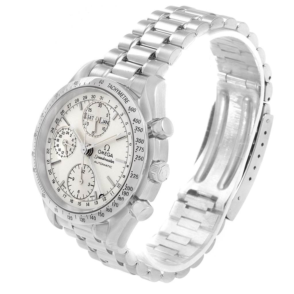 19016 Omega Speedmaster Silver Dial Day Date Mens Watch 3521.30.00 Card SwissWatchExpo
