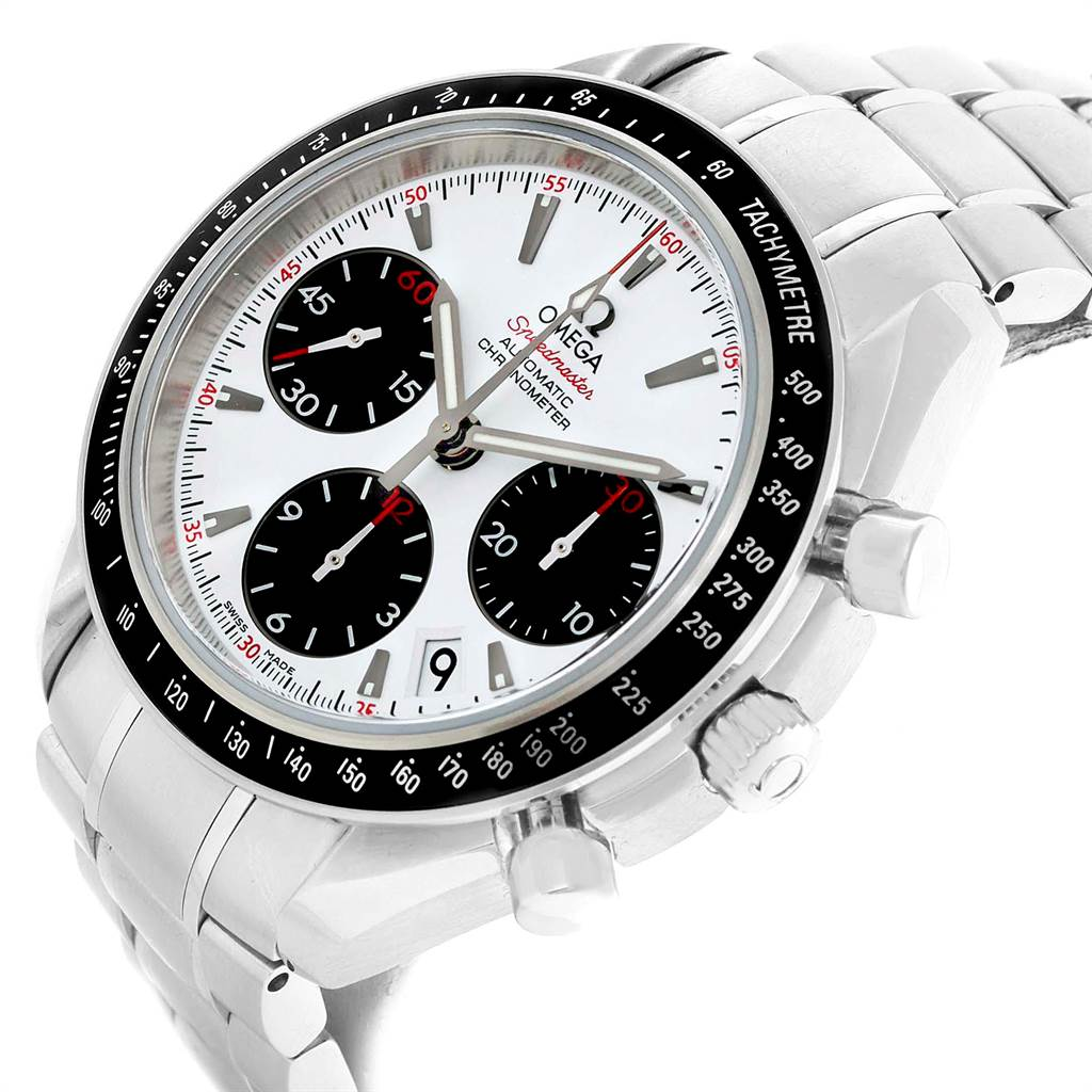 21744 Omega Speedmaster Date Panda Dial Watch 323.30.40.40.04.001 Box Card SwissWatchExpo