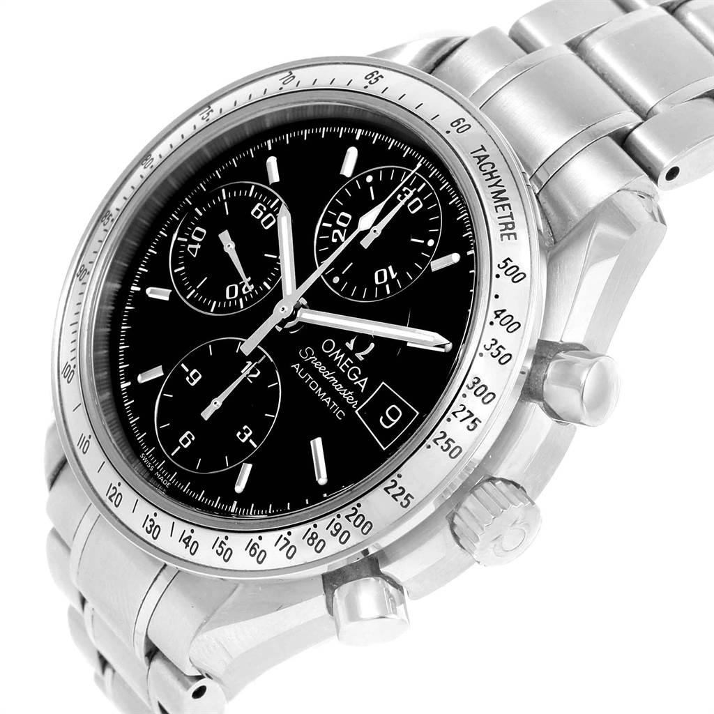 19018 Omega Speedmaster Chronograph Black Dial Steel Watch 3513.50.00 Card SwissWatchExpo