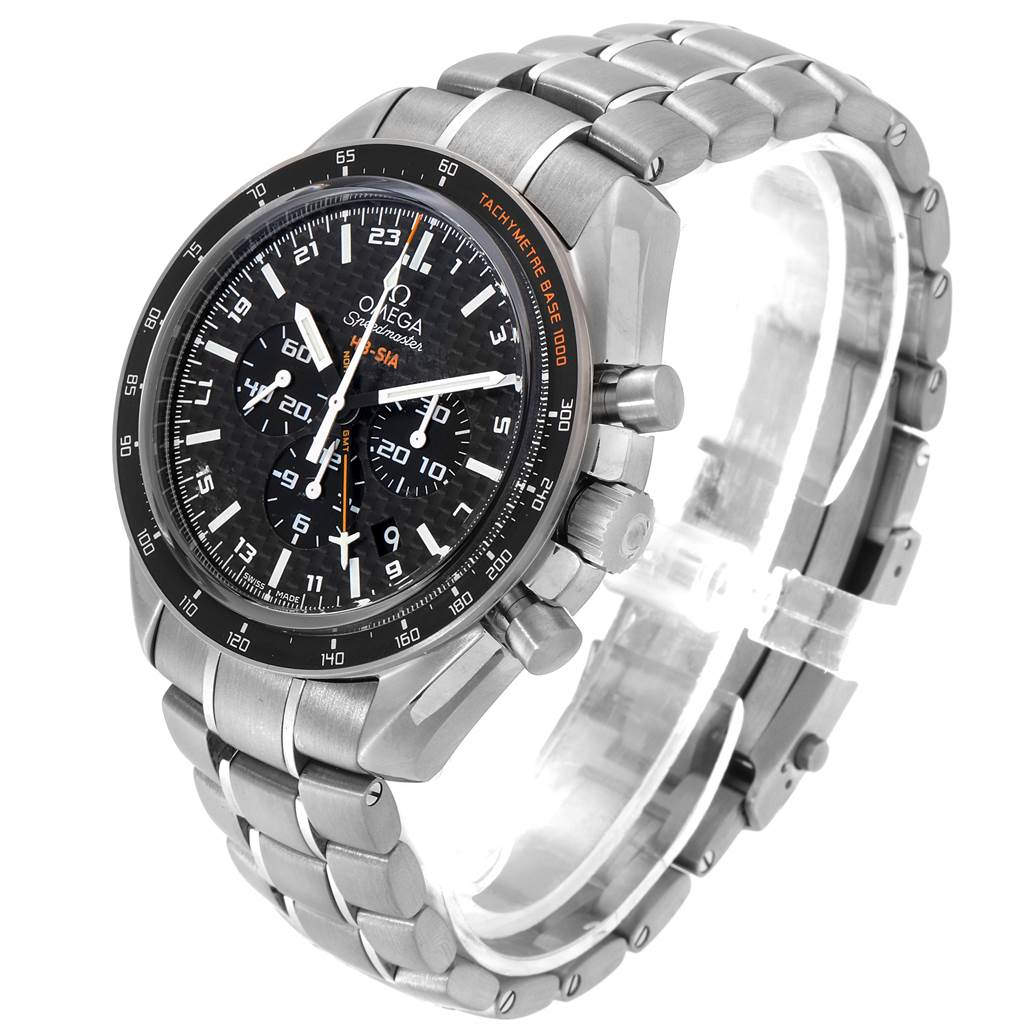 23798 Omega Speedmaster HB-SIA GMT Titanium Watch 321.90.44.52.01.001 Unworn SwissWatchExpo