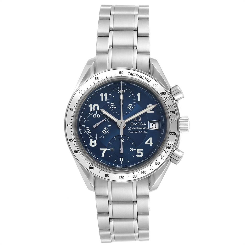 23800 Omega Speedmaster Date 39 Blue Dial Chronograph Mens Watch 3513.82.00 SwissWatchExpo