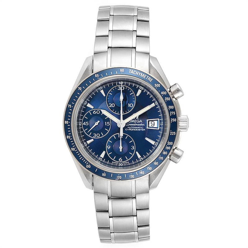 Omega Speedmaster Date Blue Dial Chrono Watch 3212.80.00 Box Card SwissWatchExpo