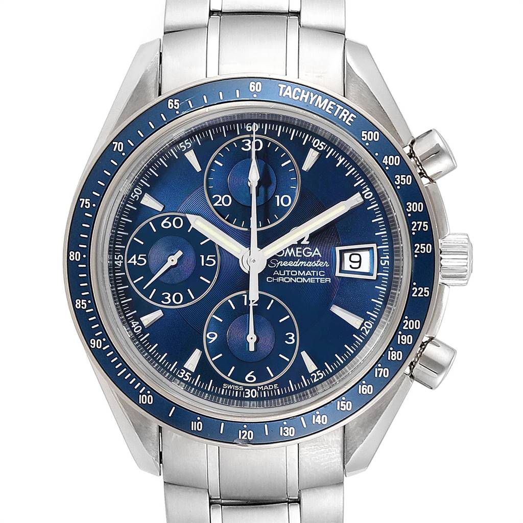 Photo of Omega Speedmaster Date Blue Dial Chrono Watch 3212.80.00 Box Card