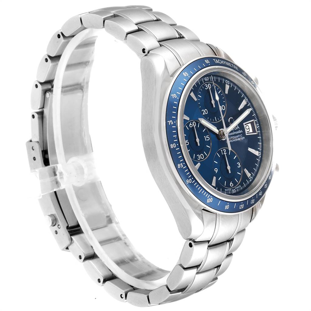 Omega Speedmaster Day Date Blue Dial Chronograph Watch 3212.80.00 SwissWatchExpo