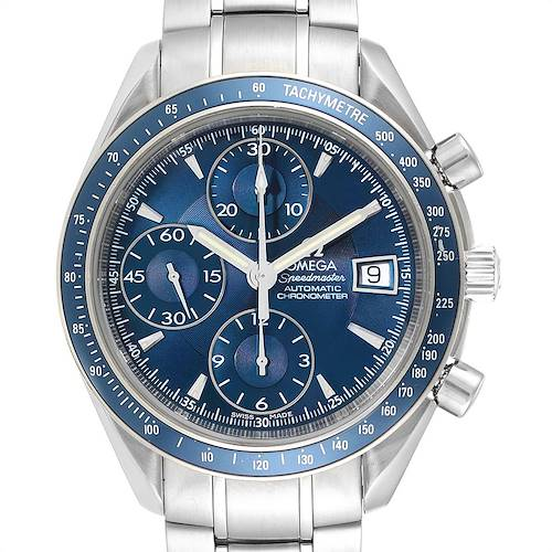 Photo of Omega Speedmaster Day Date Blue Dial Chronograph Watch 3212.80.00