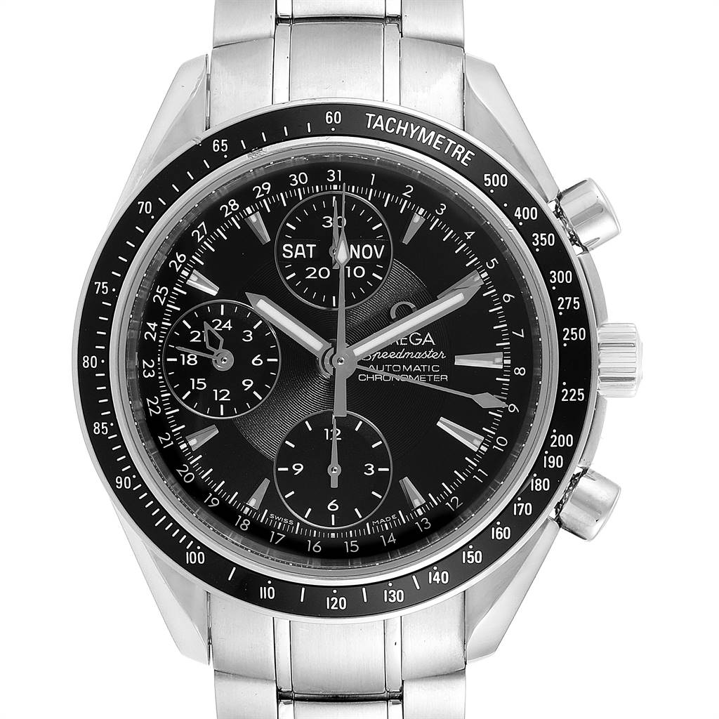Omega Speedmaster Day-Date 40 Chronograph Watch 3220.50.00 Papers SwissWatchExpo