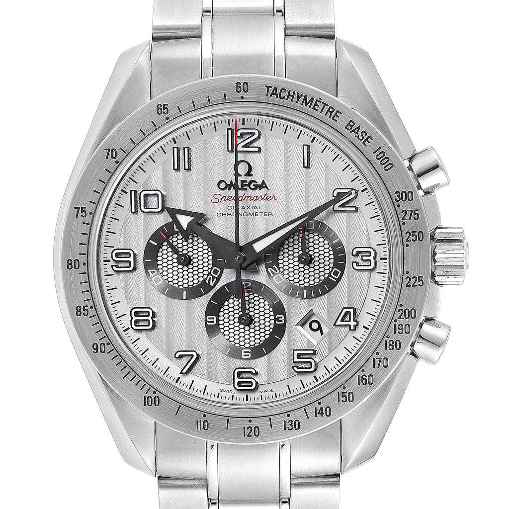 25120 Omega Speedmaster Broad Arrow Silver Dial 321.10.44.50.02.001 Card SwissWatchExpo