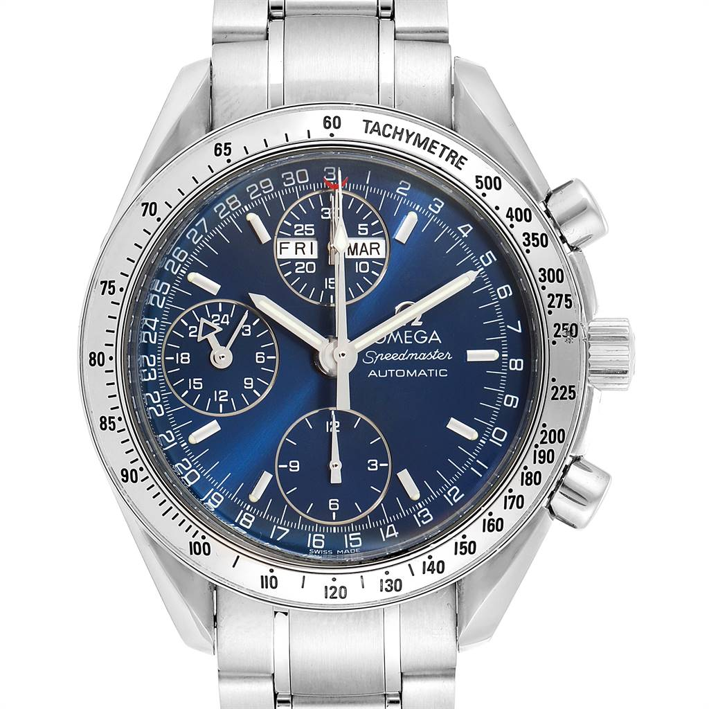 Omega Speedmaster 39mm Day-Date Blue Dial Mens Watch 3523.80.00 SwissWatchExpo