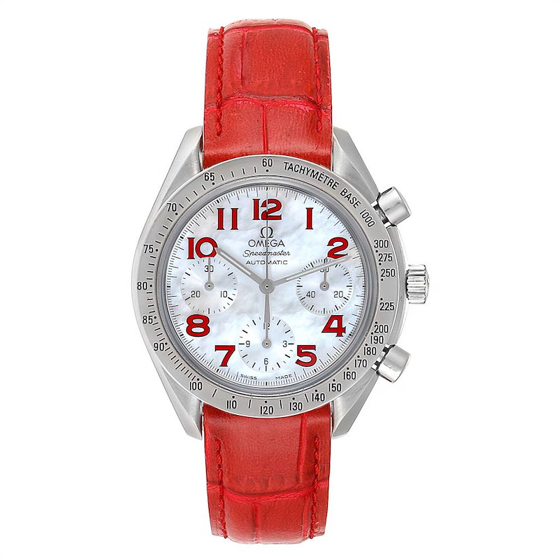 Omega Speedmaster Mother of Pearl Red Strap Ladies Watch 3834.79.40 SwissWatchExpo
