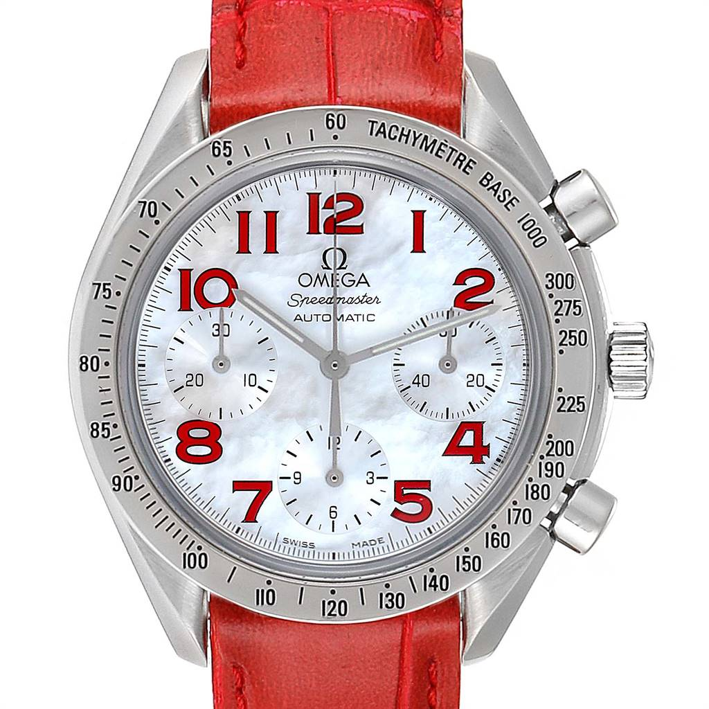 Photo of Omega Speedmaster Mother of Pearl Red Strap Ladies Watch 3834.79.40