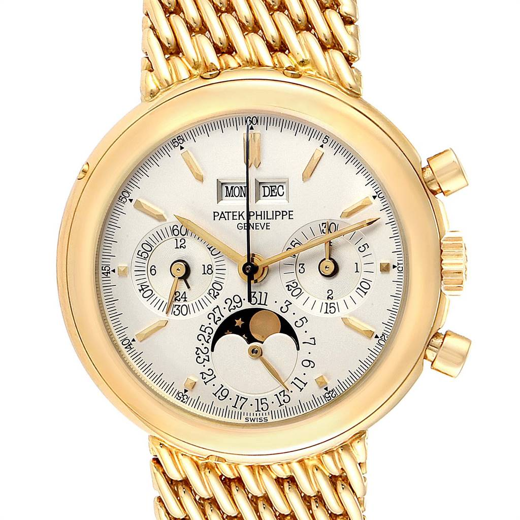 Patek Philippe Perpetual Calendar Chronograph Yellow Gold Mens Watch 3970