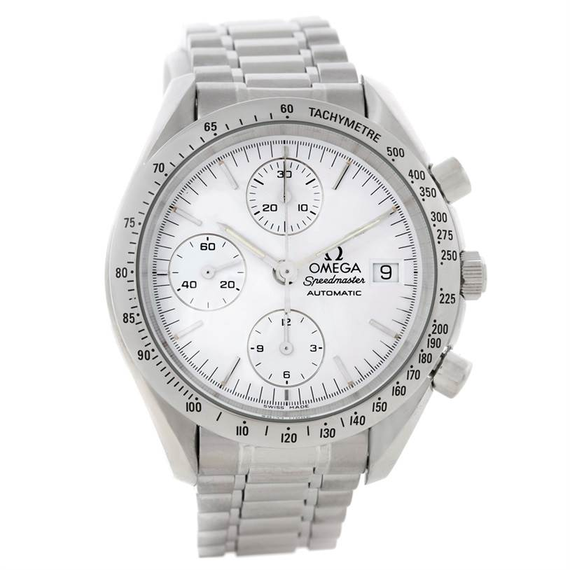 8317 Omega Speedmaster Automatic Date White Dial Mens Watch SwissWatchExpo