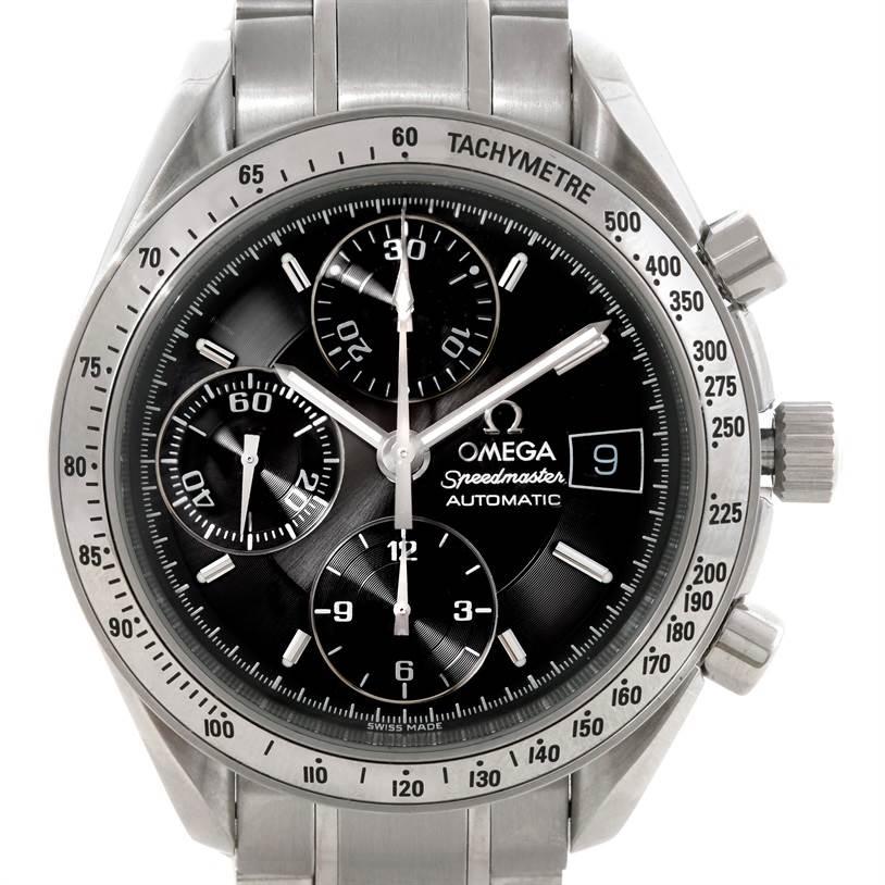 omega speedmaster date black dial mens automatic watch. Black Bedroom Furniture Sets. Home Design Ideas