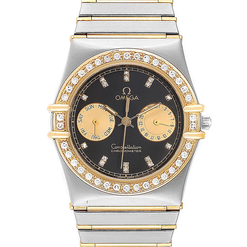 Omega Constellation Chronograph Steel Yellow Gold Diamond Mens Watch SwissWatchExpo