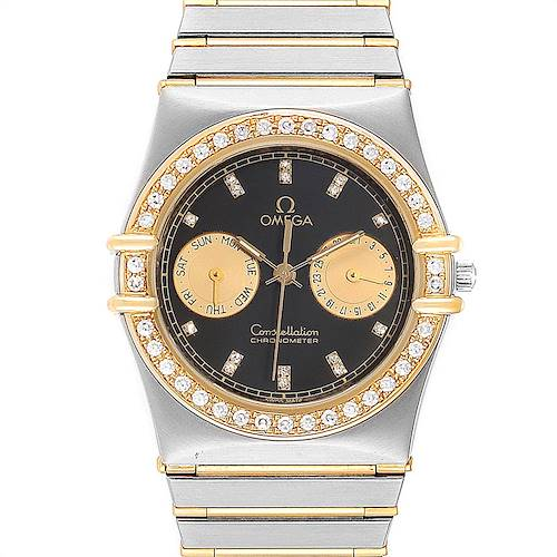 Photo of Omega Constellation Chronograph Steel Yellow Gold Diamond Mens Watch