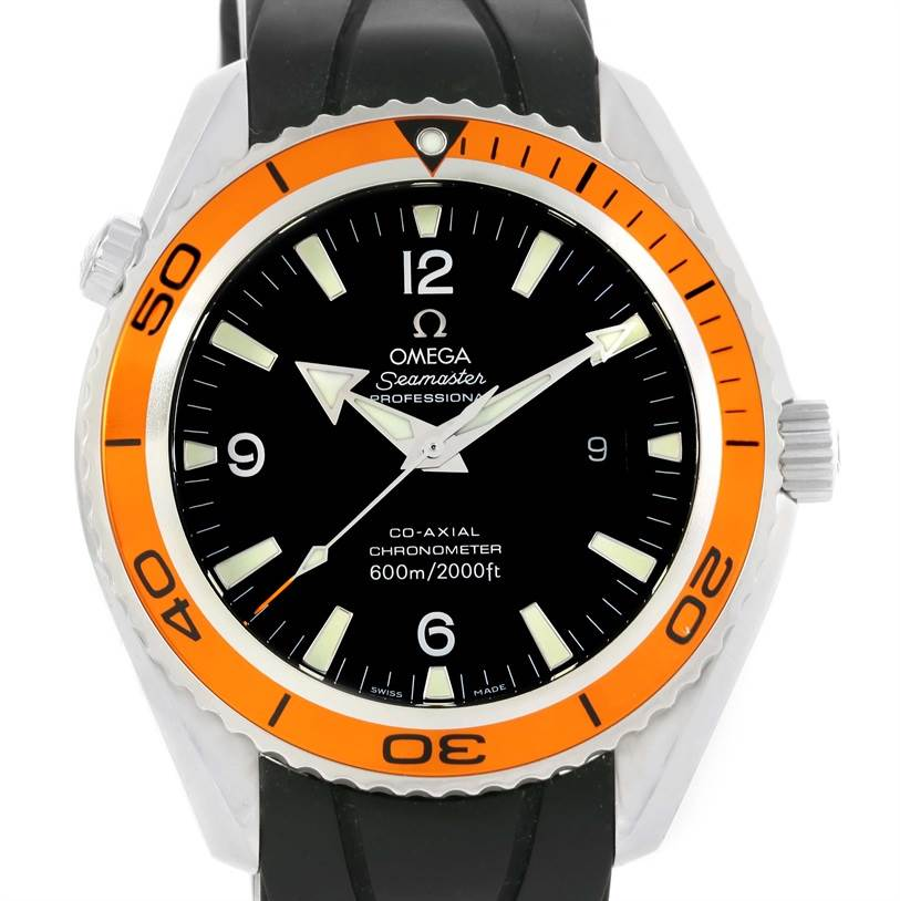 Omega Seamaster Planet Ocean XL Orange Bezel Mens Watch 2200.50.00