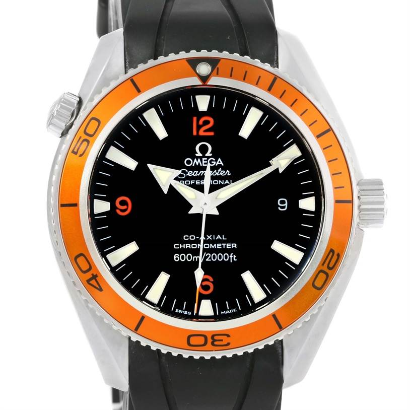 Omega Seamaster Planet Ocean Orange Bezel Watch 2909.50.91 Box Papers