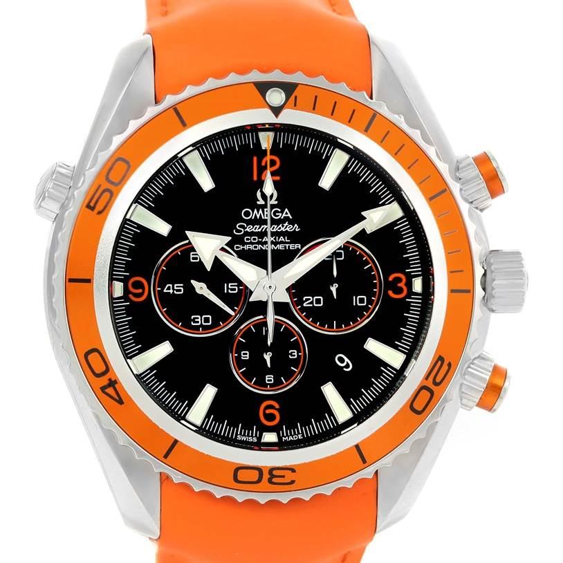 Omega Seamaster Planet Ocean XL Orange Bezel Strap Watch 2918.50.38