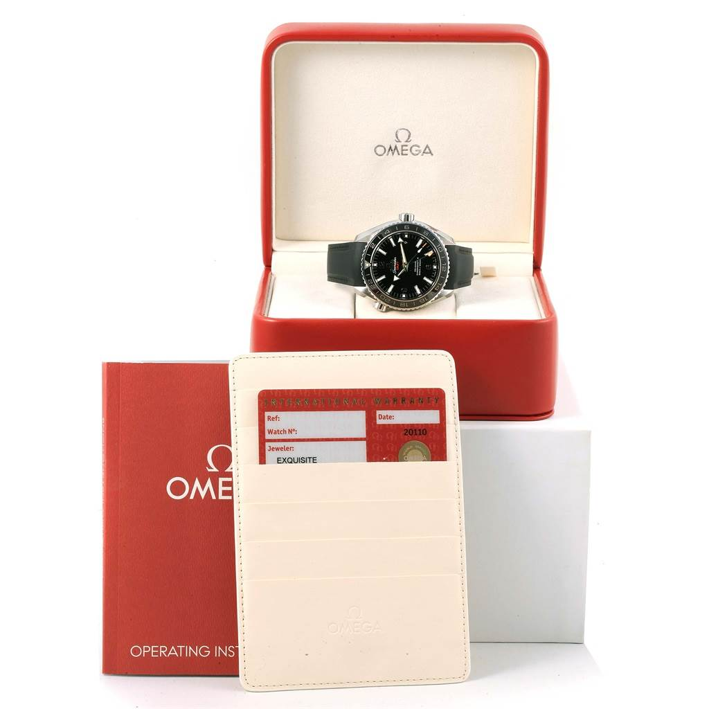 16753 Omega Seamaster Planet Ocean GMT 600m Watch 232.32.44.22.01.001 Box Card SwissWatchExpo