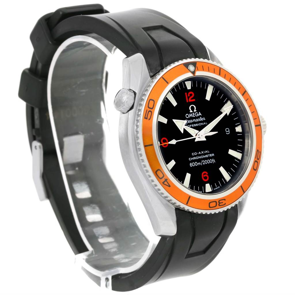 19916 Omega Seamaster Planet Ocean Rubber Strap Orange Bezel Watch 2909.50.91 SwissWatchExpo