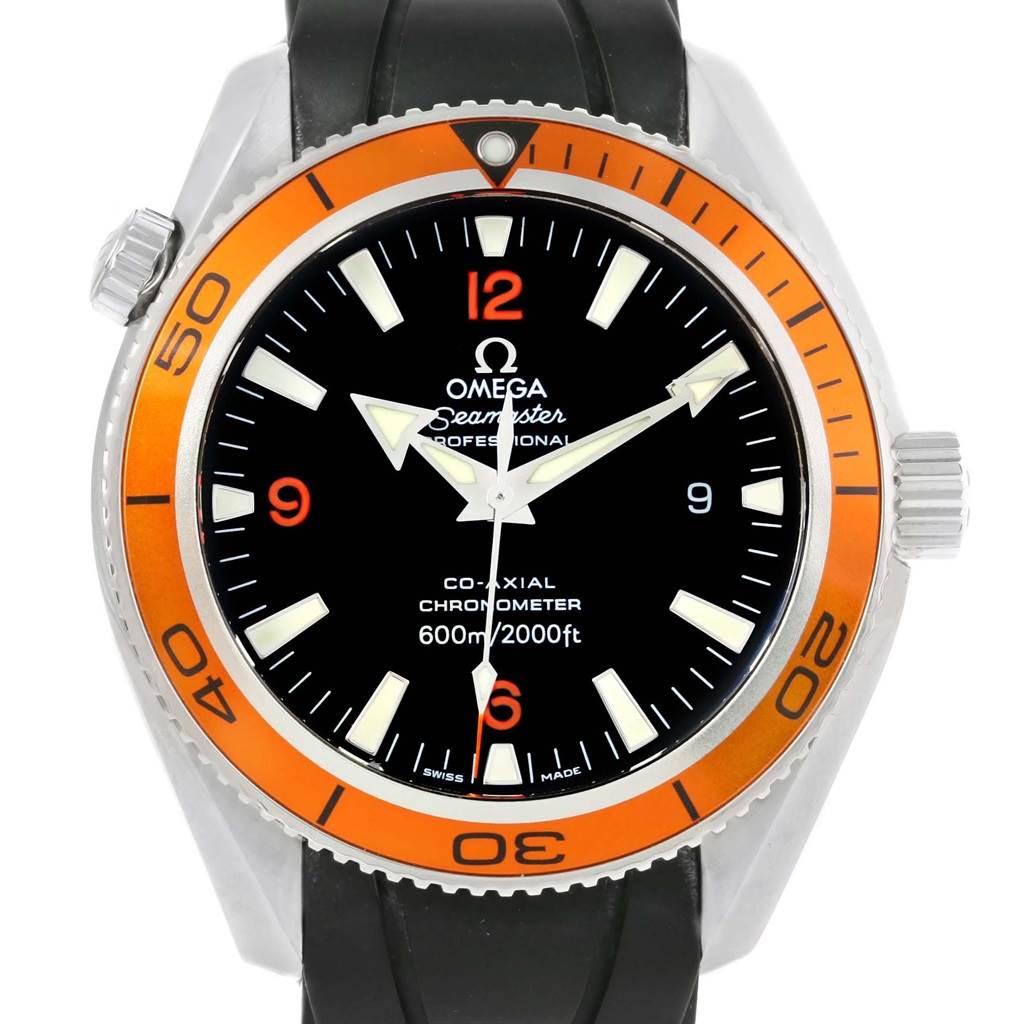 Omega Seamaster Planet Ocean Rubber Strap Orange Bezel Watch 2909.50.91
