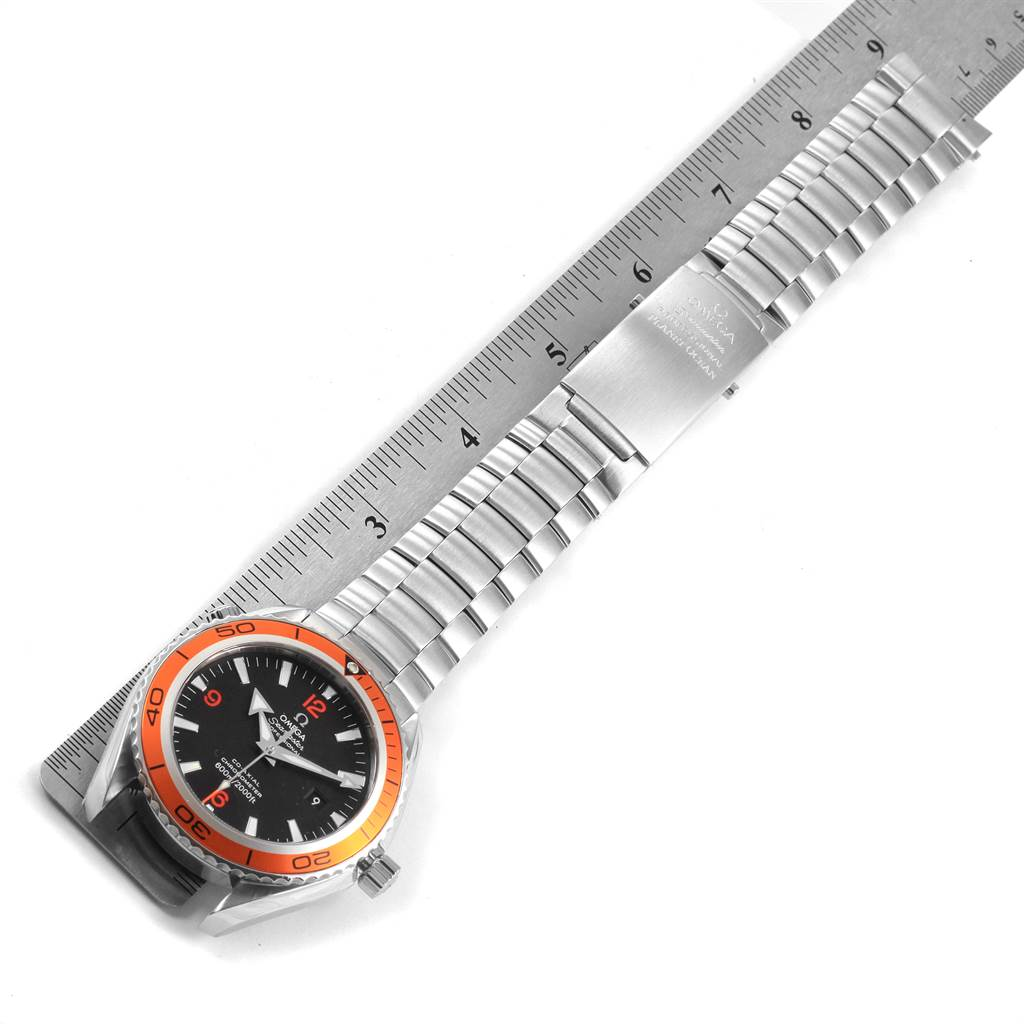 22315 Omega Seamaster Planet Ocean XL Orange Bezel Mens Watch 2208.50.00 SwissWatchExpo