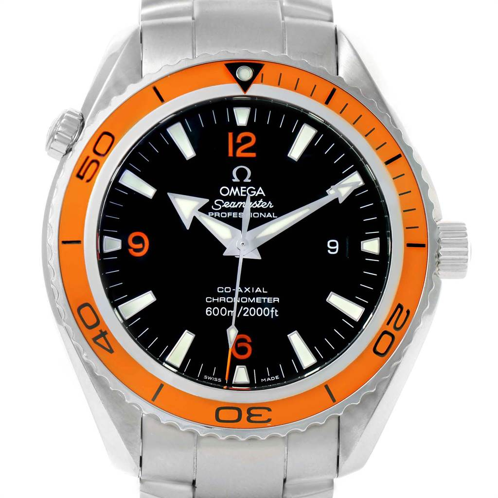 22315 Omega Seamaster Planet Ocean XL Orange Bezel Mens Watch 2208.50.00 SwissWatchExpo
