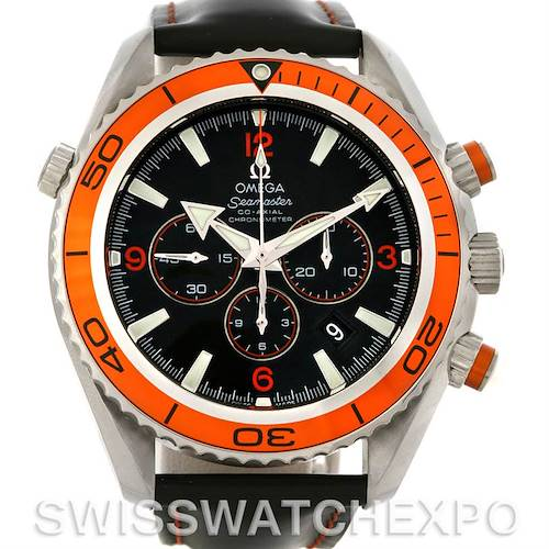 Photo of Omega Planet Ocean Seamaster Chronograph Mens Watch Orange Bezel 2918.50.82