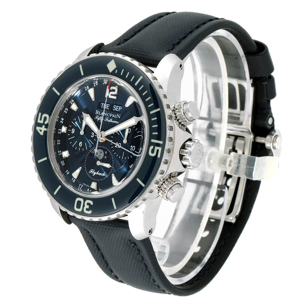 Blancpain Fifty Fathoms Flyback Chronograph Moonphase Watch 5066f-1140-52b SwissWatchExpo