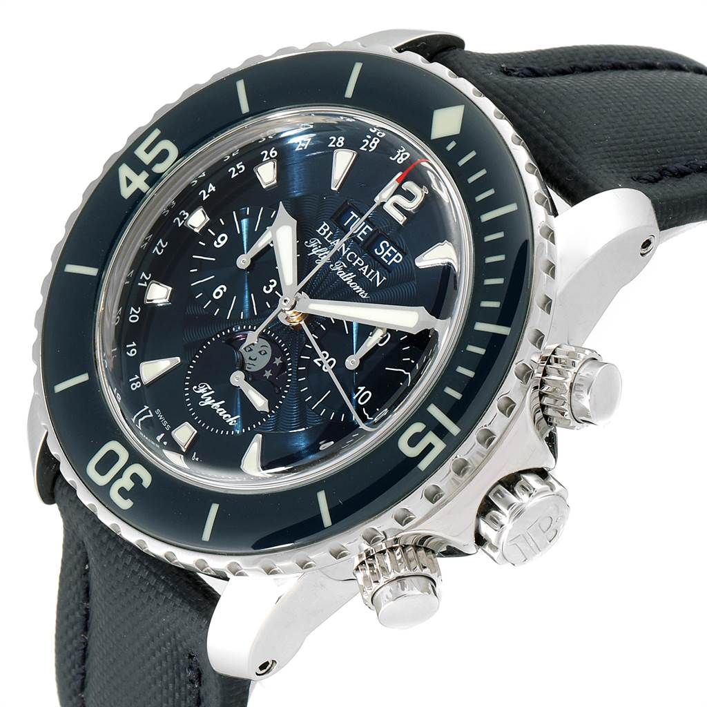 23500 Blancpain Fifty Fathoms Flyback Chronograph Moonphase Watch 5066f-1140-52b SwissWatchExpo