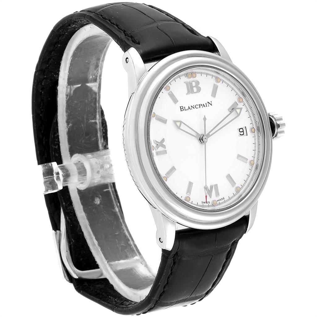 24685 Blancpain Leman Ultra Slim White Dial Steel Mens Watch 2100 Box Papers SwissWatchExpo
