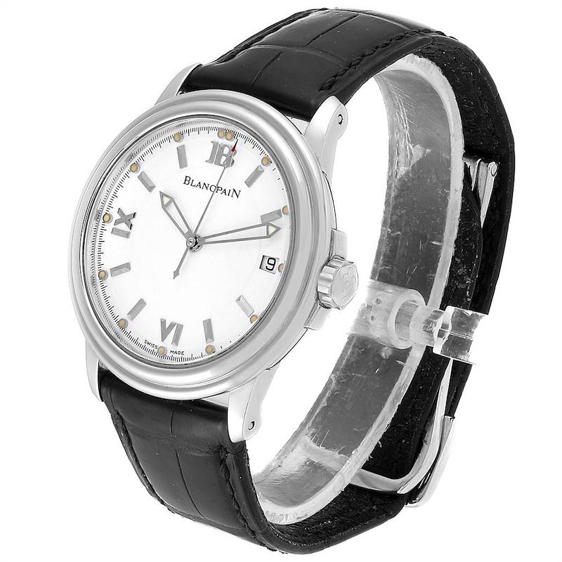 Blancpain Leman Ultra Slim White Dial Steel Mens Watch 2100 Box Papers SwissWatchExpo