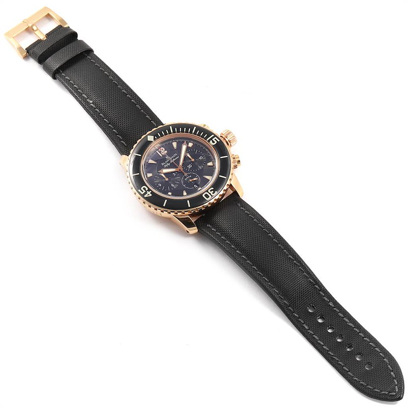 Blancpain Fifty Fathoms Flyback Rose Gold Chronograph Mens Watch 5085F SwissWatchExpo