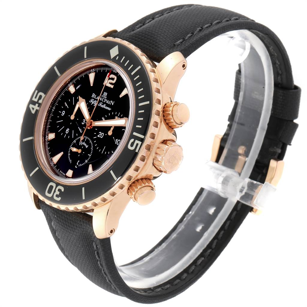 25201 Blancpain Fifty Fathoms Flyback Rose Gold Chronograph Mens Watch 5085F SwissWatchExpo