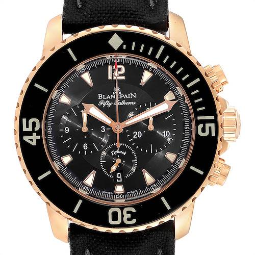 Photo of Blancpain Fifty Fathoms Flyback Rose Gold Chronograph Mens Watch 5085F