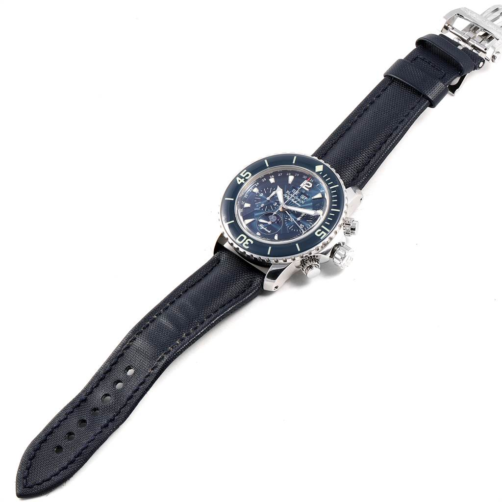 26208X Blancpain Fifty Fathoms Flyback Chronograph Moonphase Watch 5066f-1140-52b SwissWatchExpo