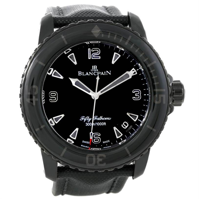 9064 Blancpain Fifty Fathoms Dark Knight Black PVD Watch 5015-11C30-52 SwissWatchExpo