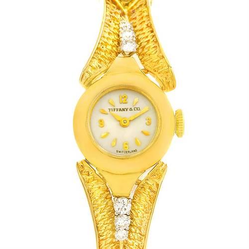 Photo of Tiffany 14k Yellow Gold Diamond Vintage Ladies Cocktail Watch 4803