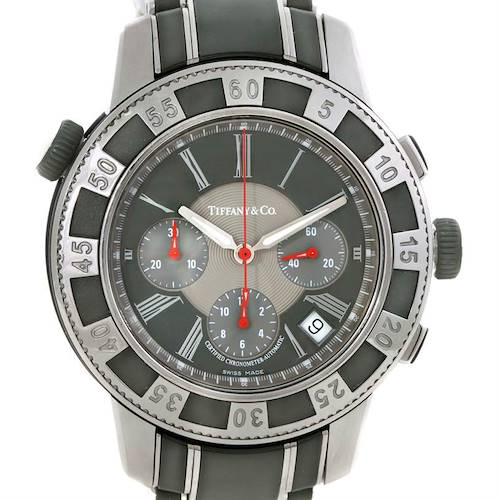 Photo of Tiffany Stainless Steel Vulcanized Rubber Chronograph Mens Watch T-57