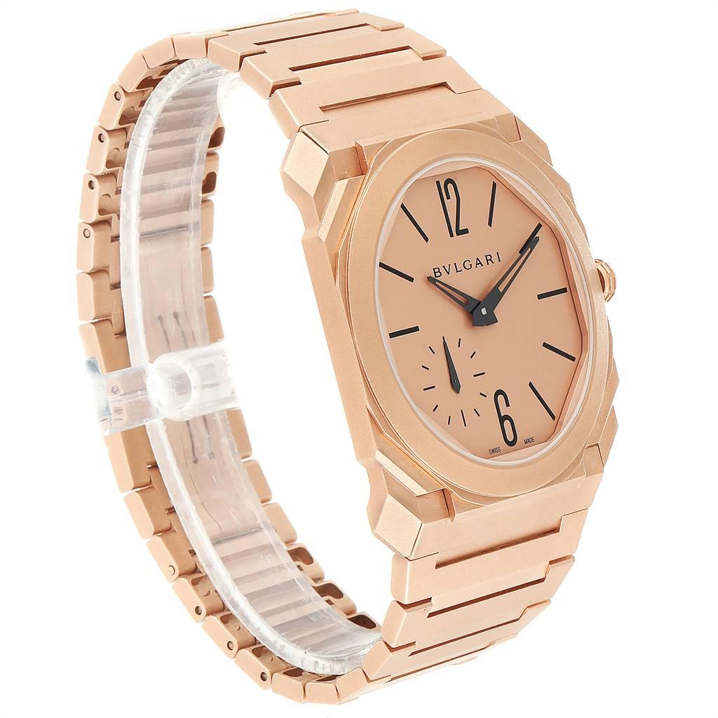 Bvlgari Octo Finissimo Sandblasted Rose Gold Extra Thin Mens Watch 102912 SwissWatchExpo