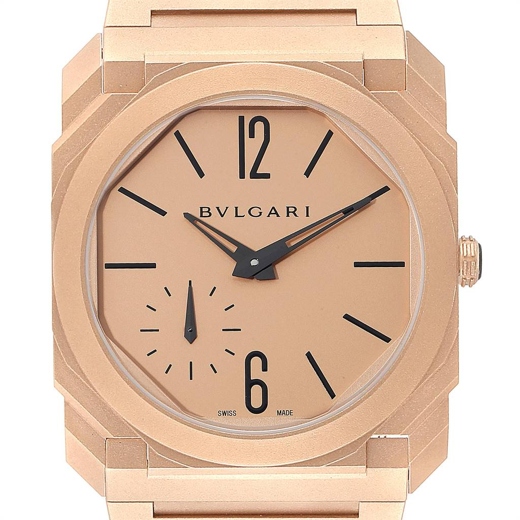 Bvlgari Octo Finissimo Sandblasted Rose Gold Extra Thin Mens Watch 102912