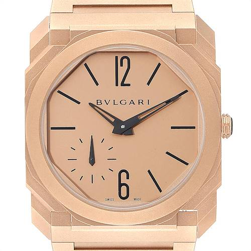 Photo of Bvlgari Octo Finissimo Sandblasted Rose Gold Extra Thin Mens Watch 102912