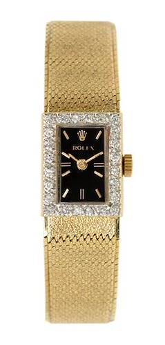 Photo of Rolex Vintage Ladies 14k Yellow Gold Diamond Watch