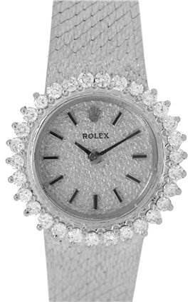 Photo of Rolex 14k White Gold Diamond Vintage Ladies Cocktail Watch