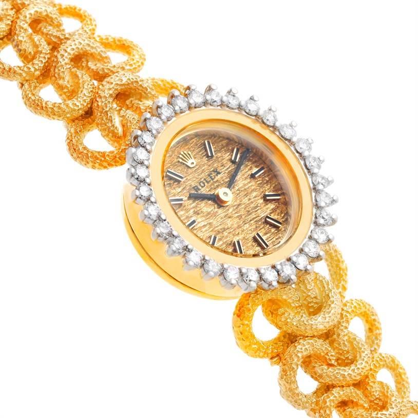 7343 Rolex 14k Yellow Gold Diamond Vintage Ladies Cocktail Watch 8312 SwissWatchExpo